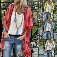 Summer Women Floral Loose Shawl Vintage Kimono Cardigan Boho Chiffon Coat Jacket