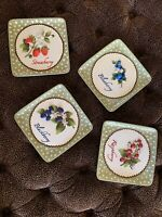 Set Of Four Embossed 3D Berry Plates Strawberry Blueberry Blackberry Raspberry