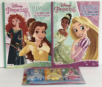 New 2 Disney Princess Coloring & Activity Books + 3 Packs Of Crayons Belle Tiana