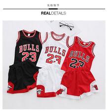 ff5634732a6f NEW Kids Baby Boys 23 Michael Jordan Bulls Basketball Jerseys Short Suits