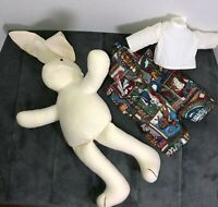 1994 Stuffed Animal Bunny Rabbit Overalls w State Hi-Way Signs Anco Cloth Doll