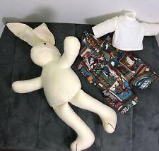 1994 Stuffed Animal Bunny Rabbit Overalls w State Hi-Way Signs Anco Cloth Doll