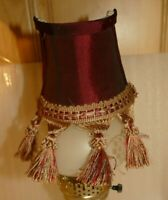 Vintage Clip-on Wall Sconce Half Lampshade Red Gold Fringe Tassels Victorian