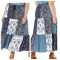 Style & Co Blue Maxi Accordion Pleat Skirt Womens Size XL