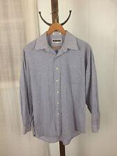 John Weitz Dress Shirt Button Front Long Sleeve 16 1/2 Navy Pinstripe Check EUC