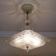 130b Vintage 40's Empire Ceiling Light Lamp Fixture Glass Chandelier