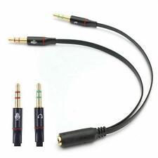 Audio Splitter Kabel Schwarz Y Adapter Kopfhörer Headset 3.5mm Flachkabel PC
