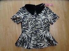 SWEEWE ladies black gold pattern peplum short sleeve top UK 8 - 10 SMALL / MED