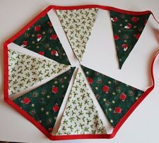 Christmas Festive Robins & Holly Fabric Handmade Bunting Garland Double Sided