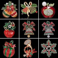 Crystal Rhinestone Christmas Bell Bouquet Brooch Pin Women Xmas Costume Jewelry
