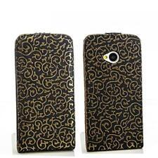 Flip case Handy Tasche HTC One (M7) Schwarz-Gold Schutz Hülle Cover Etui Bag