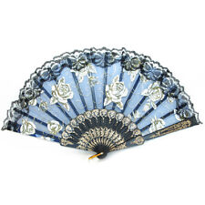 Black Slab Lace Folding Fan with Rose Pictures