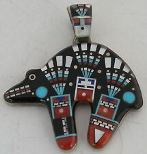 micro Gem inlay Paiute Michael Rogers Fine Bear Native American sterling silver,