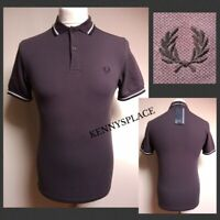 """FRED PERRY Twin Tipped Polo Shirt (S) rrp;£65 *BNWT* Grey/Grape Pit-Pit 18"""""""