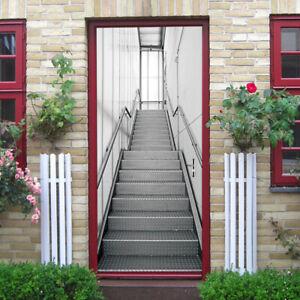 3D Door Stickers Simulation Stairs Self Adhesive Door Wrap Mural Art Home Décor