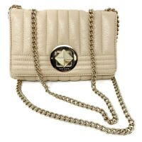 Kate Spade New York Womens Crossbody Bag Quilted Beige Turnlock Chain Flap Micro
