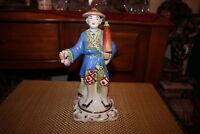 Chinese Ceramic Porcelain Figure-Man Holding Umbrella-Detailed-Colorful