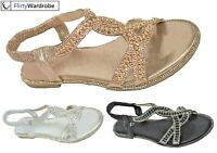 Flat Open Toe Sandals Elastic Strap Sequin Diamante Edge Summer Shoe Size Womens