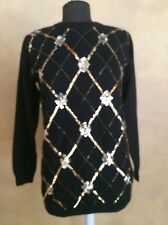Alfred Dunner Black Sequins Beaded Tunic Geometric Sweater Size S Ugly Holiday