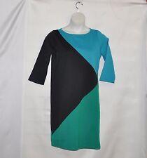 Bob Mackie Colorblock 3/4 Sleeve Dress Size S Green/Turquoise/Black