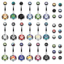 18PCS Belly Button Ring Assorted Color with 18pc Extra Balls Navel Piercing Body