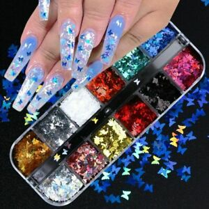 12 Grid/Set Holographics Nail Glitter Sequins Sparkly 3D Thin Butterfly Flakes