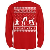 Stripper Silhoutte Ugly Christmas Sweater Red Adult Long Sleeve T-Shirt