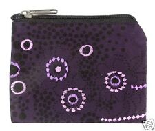 Purple Floral Coin Purse Bag Pouch Credit Card ID Holder Wallet 100% Cotton New