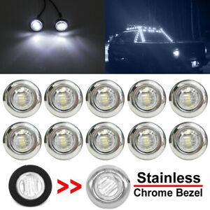 10x White 3/4'' Round LED Bullet Button Side Marker Lights Car Truck Trailer 12V