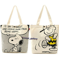 Official Snoopy Charlie Brown Thick Canvas Tote Handbag Shopping Bag Tote