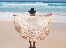 Ombre mandala cotton tapestry indian pompom round hippie beach towel yoga mat