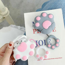For Apple Airpods Earphone Cute 3D Cat Paw Silicone Protective Case & Ring Strap