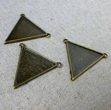 5 pcs Antique Bronze Pendant or Connector Triangle Blanks settings double sided