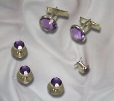 Cufflinks and Tuxedo Studs Silver  Amethyst Purple New