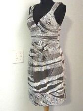 BCBGMAXAZRIA Sun Dress Sz. 2 Cocoa Brown White Print Cotton Sleeveless #1012