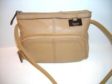 TIGNANELLO tan PEBBLED LEATHER CROSS-BODY HANDBAG multiple compartments