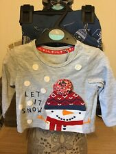 BNWT baby Boys 2 Piece Christmas Outfit Top & Leggings Let It Snow Up To 3m