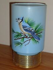 """Vintage Blue Jay glass votive candle holder 7""""H"""
