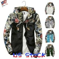 Fashion Men's Coats Patch Floral Printed Bomber Jackets Boys Zipper Hoodies US