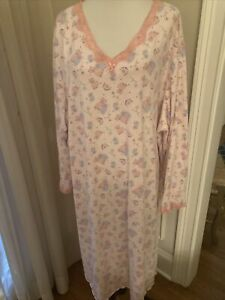 serenada nightgown 5x plus gown cotton blend meow you cats long pink