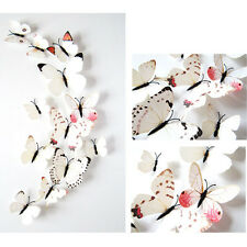 3D Butterfly Sticker Art Design Decal Wall Stickers Home Decor Decorations White