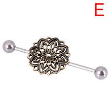 Women Surgical Steel Industrial Bar Scaffold Ear Barbell Ring Piercing Jewelr EB