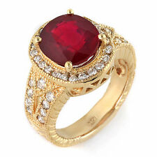 Estate ring 5.2 ct natural ruby and diamond 14k gold