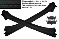 RED STITCH 2X A POST PILLAR LEATHER SKIN COVERS FITS VW GOLF MK3 III CABRIO