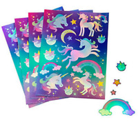 Pack of 12 - Iridescent Unicorn Party Sticker Sheets Rainbow Party Bag Fillers