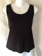 EILEEN FISHER Dark Brown Wool Pullover Tunic Top Tank Shirt Shell Medium M EUC