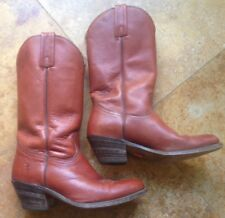 Frye Faye Pull On Leather Cowboy Boots, Cognac Chestnut Brown, 9D