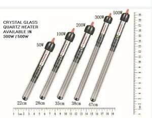 300W/500W Crystal Glass Submersible Glass Fish Tank Aquarium Heater Thermostat