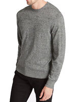 M&S Mens Cotton Blend Grey Jumper Crew Neck LS size Small Soft Feel  New