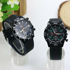 Men's Racer Military Pilot Aviator Army Style Silicone Sports Wrist Watch Magic
